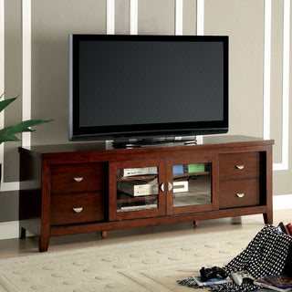 Furniture of America Reppen Transitional 72-inch Oak Sliding Door TV Console