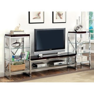 Furniture of America Jacie Contemporary 3-piece Chrome Entertainment Unit