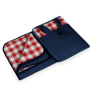 Picnic Time Vista Red Check with Navy Blanket Tote