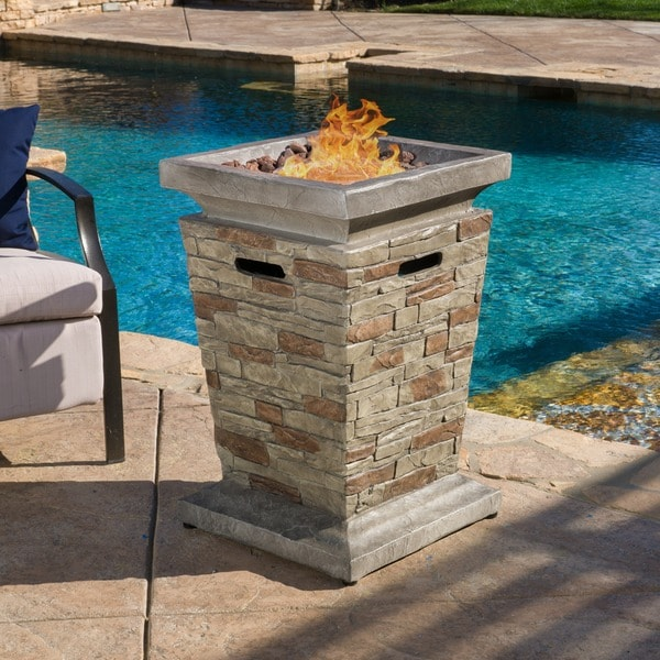 Laguna Outdoor 19 Inch Column Propane Fire Pit With Lava Rocks By  Christopher Knight Home