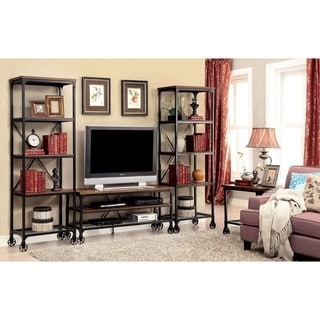 Furniture of America Daimon Industrial 3-piece Medium Oak 54-inch Entertainment Unit