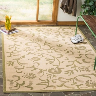 Martha Stewart By Safavieh Swirling Garden Cream/ Green Indoor/ Outdoor Rug  (8u0027