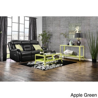 Furniture of America Linden Modern 3-piece Glass Top Metal Accent Table Set (Option: Apple Green)