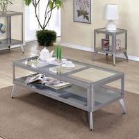 Furniture of America Linden Modern 2-piece Glass Top Metal Accent Table Set