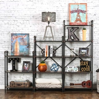 Furniture of America Herman Industrial Antique Black Display Shelf