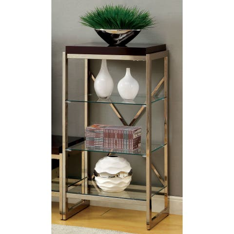 Furniture of America Gusi Contemporary Gold Metal 3-shelf Pier Cabinet