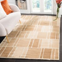 Martha Stewart by Safavieh Blocks Camel/ Ivory Wool Rug - 9' x 12'
