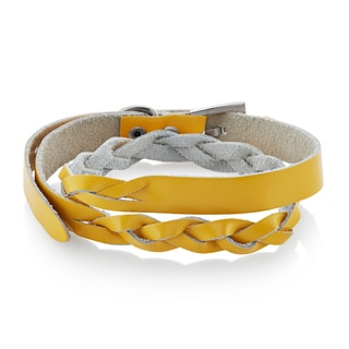 Yellow Leather Double Wrap Weaved Bracelet - 7.75 inches (12mm Wide)