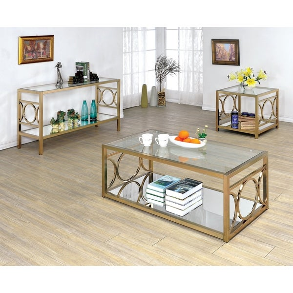 3 Piece Glass Top Coffee Table Sets.Shop Mishie Contemporary Silver 3 Piece Glass Top Accent Table Set