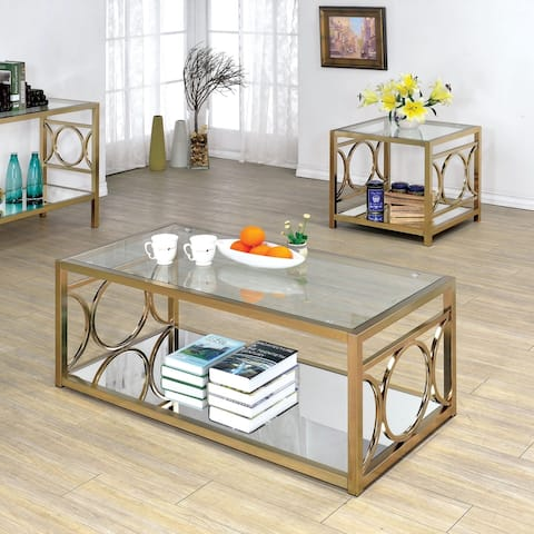 Furniture of America Gury Contemporary Chrome 2-piece Accent Table Set