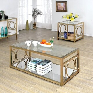 Furniture of America Mishie Contemporary 2-Piece Glass and Metal Coffee Table Set