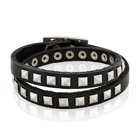 Men's Leather Square Stud Bangle Bracelet - 7.75 inches (20mm Wide)