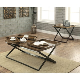 Furniture of America Tapper Urban 2-piece Accent Table Set with Trays