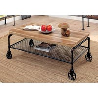 Furniture of America Galbus Industrial Antique Black 1-shelf Coffee Table