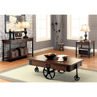 Furniture of America Carpenter Rustic 3-piece Weathered Oak Accent Table Set