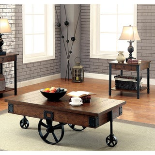 Furniture of America Carpenter Rustic 2-piece Weathered Oak Accent Table Set