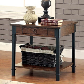 Furniture of America Carpenter Rustic Weathered Oak 1-drawer End Table