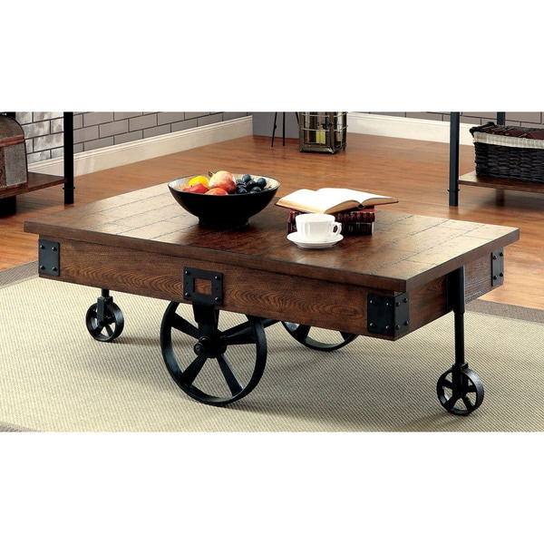 Furniture Of America Carpenter Rustic Weathered Oak Caster Wheel Coffee Table Free Shipping