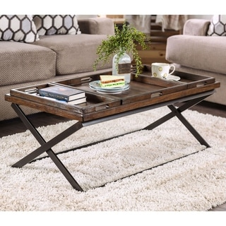 Furniture of America Guff Urban Oak Solid Wood Coffee Table