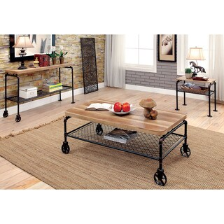 Furniture of America Galbus Industrial 3-piece Antique Black Accent Table Set