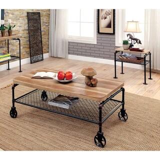 Furniture of America Galbus Industrial 2-piece Antique Black Accent Table Set
