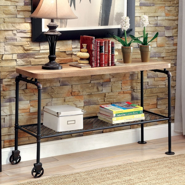 Furniture of America Galbus Industrial Black Metal 1-shelf Sofa Table