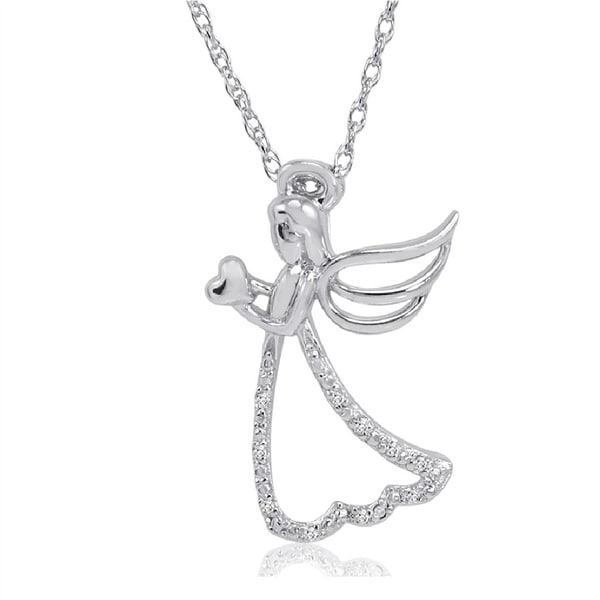 Angel with Heart Diamond Pendant-Necklace in Sterling Silver on an 18in. Chain
