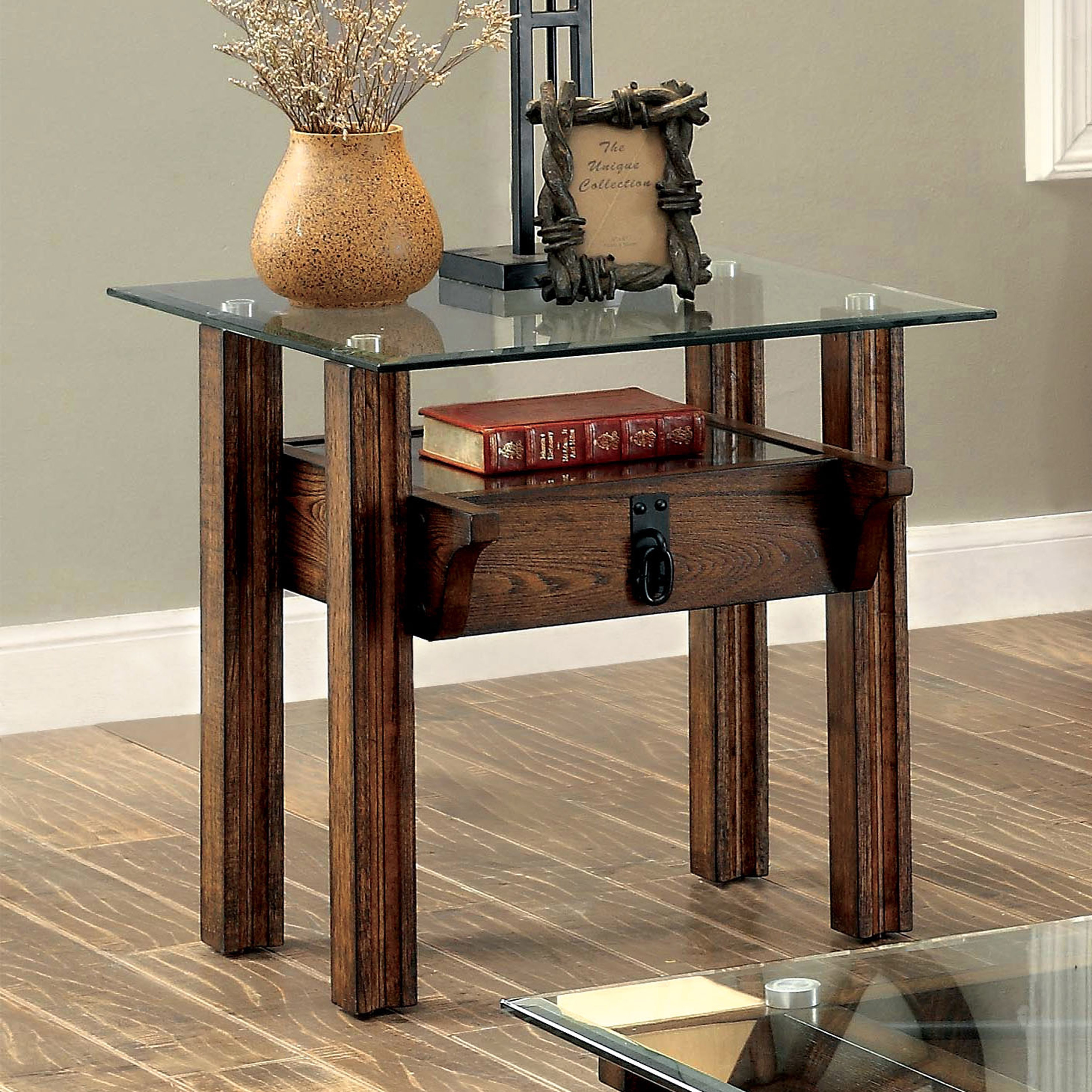 End Table Glass Top Rustic Wooden Home Living Room