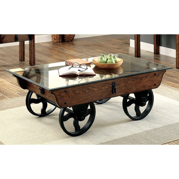 Furniture Of America Charlotte Rustic Glass Top Coffee Table
