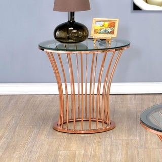 Furniture of America Wallins Contemporary Round Rose Gold End Table