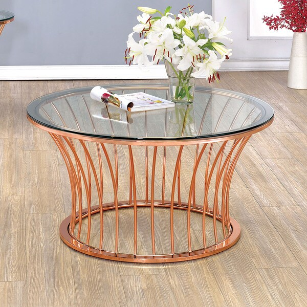shop furniture of america wallins contemporary round rose gold coffee table on sale free. Black Bedroom Furniture Sets. Home Design Ideas