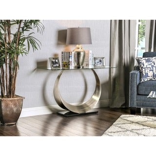 Furniture of America Serenia Contemporary Satin Metal Glass Top Sofa Table