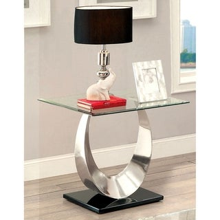 Furniture of America Serenia Contemporary Satin Metal Glass Top End Table