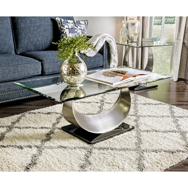 Furniture Of America Heer Contemporary Silver Glass Top Coffee Table Overstock 11421694
