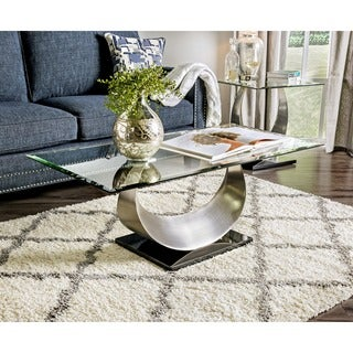 Furniture of America Serenia Contemporary Satin Metal Glass Top Coffee Table