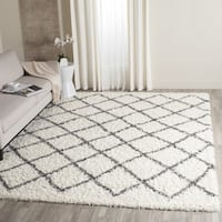 Safavieh Dallas Shag Ivory/ Dark Grey Trellis Rug (8' x 10') - 8' x 10'