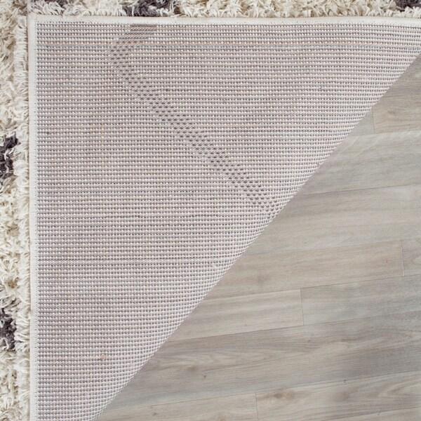 Safavieh Dallas Shag Ivory/ Dark Grey Trellis Rug - 8'6 x 12'
