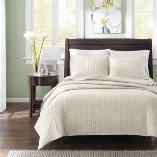 Madison Park Jaxson Light Khaki 3-piece Coverlet Set