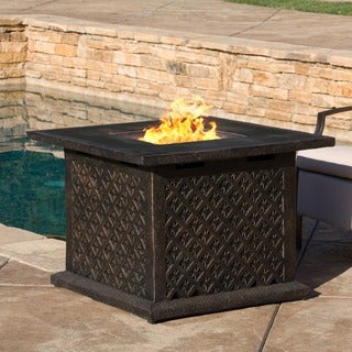 Christopher Knight Home Manila Outdoor 33-inch Square Liquid Propane Fire Pit with Lava Rocks