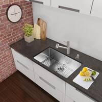 VIGO All-in-One 30-inch Stainless Steel Undermount Kitchen Sink and Branson Stainless Steel Faucet Set