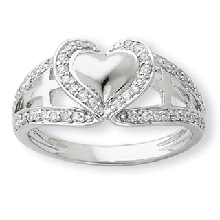 Versil Sterling Silver Cubic Zirconia Polished Pure Heart Ring