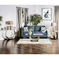 Furniture of America Serenia Contemporary 3-piece Satin Metal Glass Top Accent Table Set
