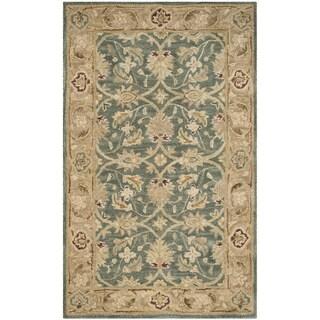 Safavieh Handmade Antiquity Teal Blue/ Taupe Wool Rug (2' x 3')