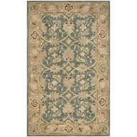 Safavieh Handmade Antiquity Teal Blue/ Taupe Wool Rug - 2' x 3'