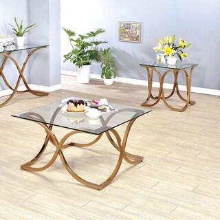 Furniture of America Artenia Modern 2-Piece Champagne Accent Table Set