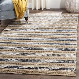 Safavieh Cape Cod Handmade Natural / Blue Jute Natural Fiber Rug (2'3 x 3'9)