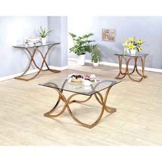 Furniture of America Artenia Modern 3-Piece Champagne Accent Table Set