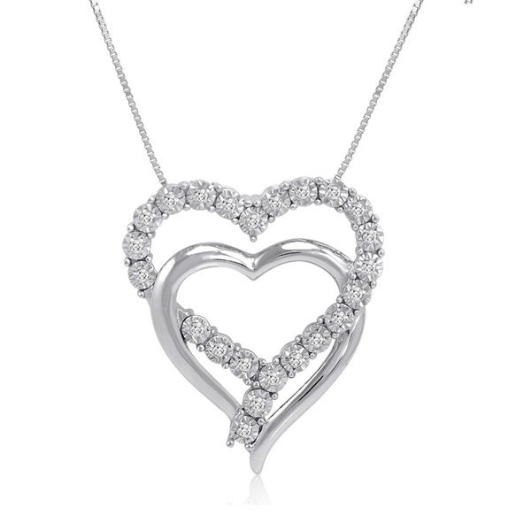 Amanda Rose Collection 1/10ct tw IGI Certified Diamond Heart Pendant-Necklace in Sterling silver