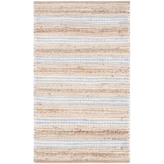 Safavieh Cape Cod Handmade Natural / Light Blue Jute Natural Fiber Rug (2'3 x 3'9)