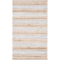 Safavieh Cape Cod Handmade Natural / Light Blue Jute Natural Fiber Rug (2'3 x 3'9)